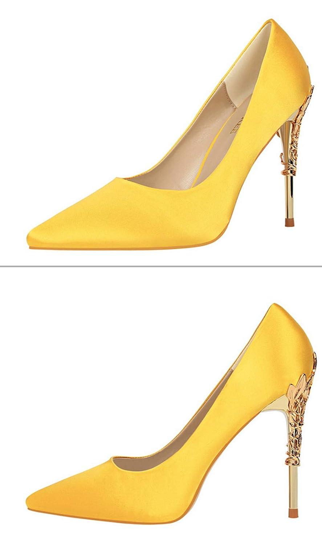 CrazycatZ Women Shiny Metal Metallic High Heel Pointed Toe Stiletto Pumps Shoes