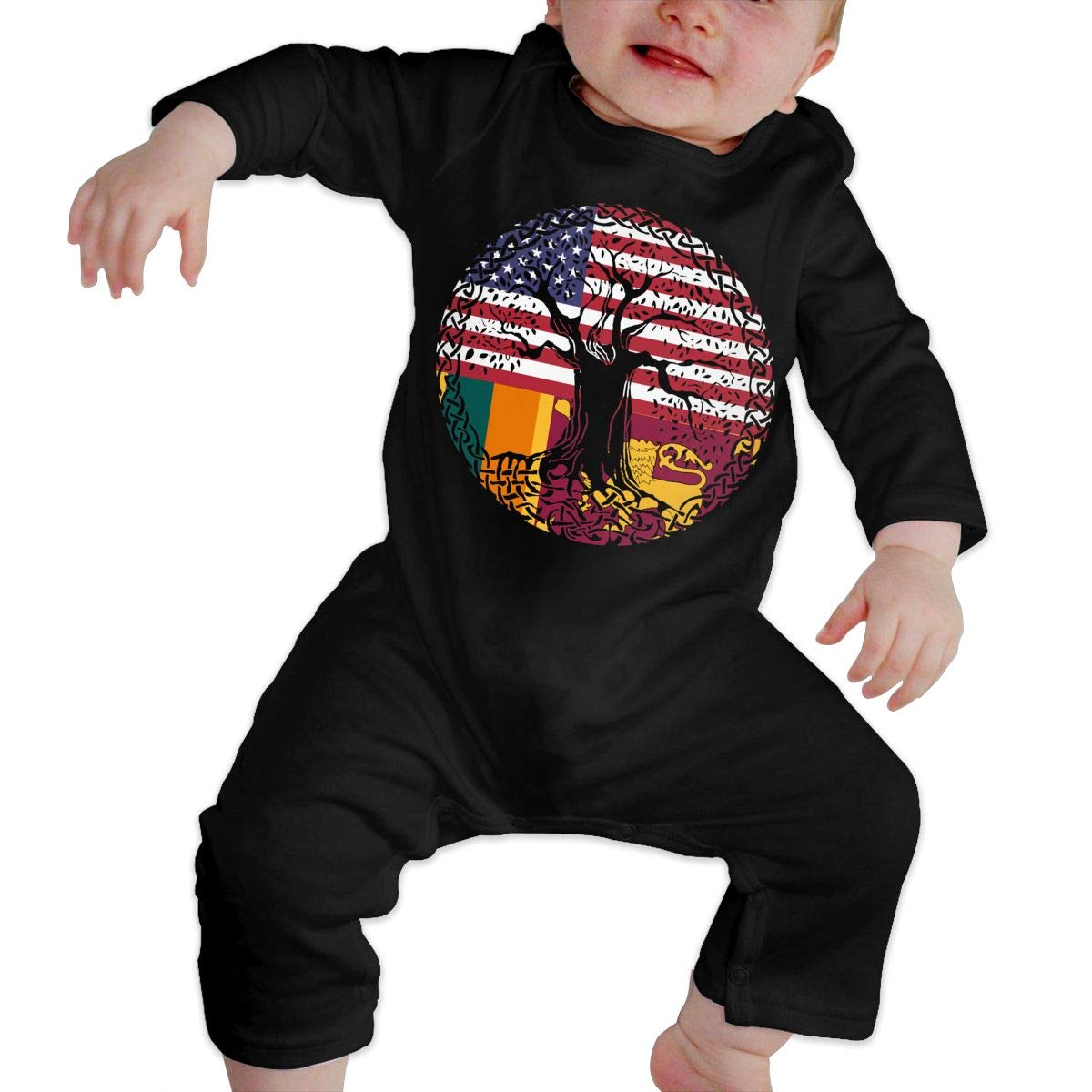 YUE--3BODY American Heart Sri Lanka Flag Roots Baby Girl Long Sleeve Baby Newborn Boy Superman Bodysuits