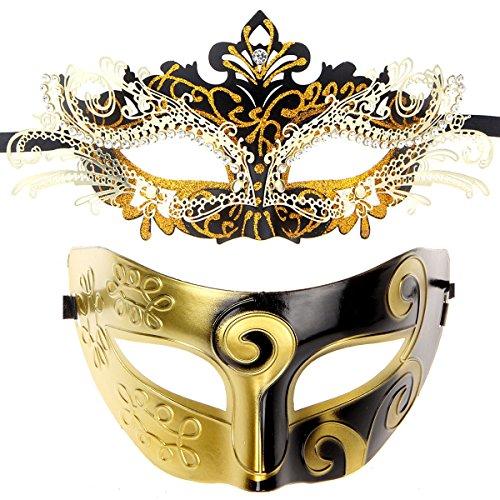 ECOSCO Couple Masquerade Mask Women Men Mardi Gras Venetian Ball Mask (Black-Gold+Black-Gold 1)]()