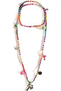 Grace Damen Kette Halskette Doppelkette Choker Seide Perlen und Anhänger