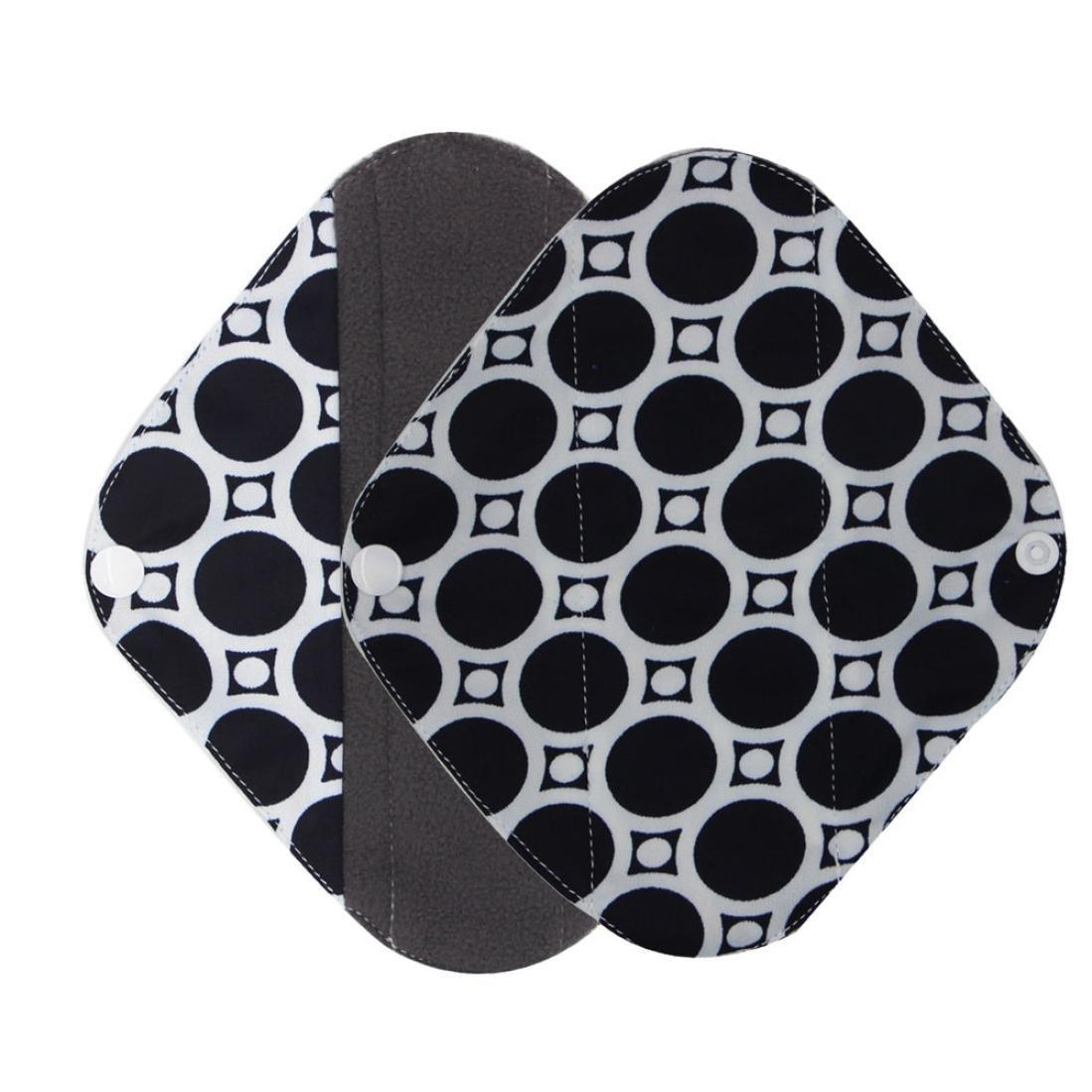 WYTong Washable Heavy Flow Charcoal Bamboo Mama Cloth/ Menstrual Choth Pads/ Reusable Sanitary Pads (Black, S)
