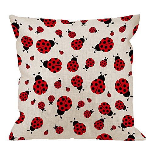 (HGOD DESIGNS Ladybug Pillow Cover,Decorative Throw Pillow Ladybird Seamless Pattern Pillow cases Cotton Linen Outdoor Indoor Square Cushion Covers For Home Sofa couch 18x18 inch)