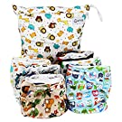 QTPIE Cloth Pocket Diapers with Inserts and Wet Bag, Adorable 14 Piece Set