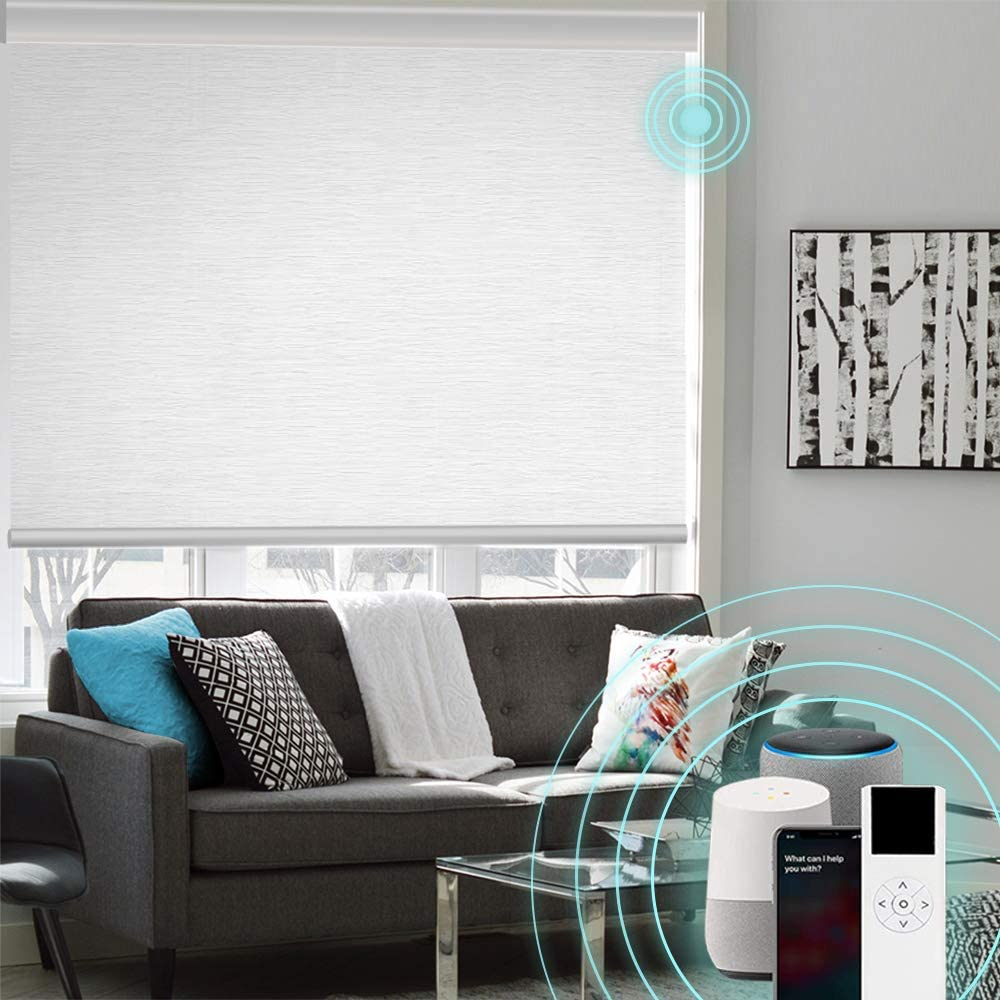 XINGXUN High Precision Customized Color and Size Motorized Window Roller Shades/Blinds with Built-in Battery, Available for Smart Homes, Made in The USA.