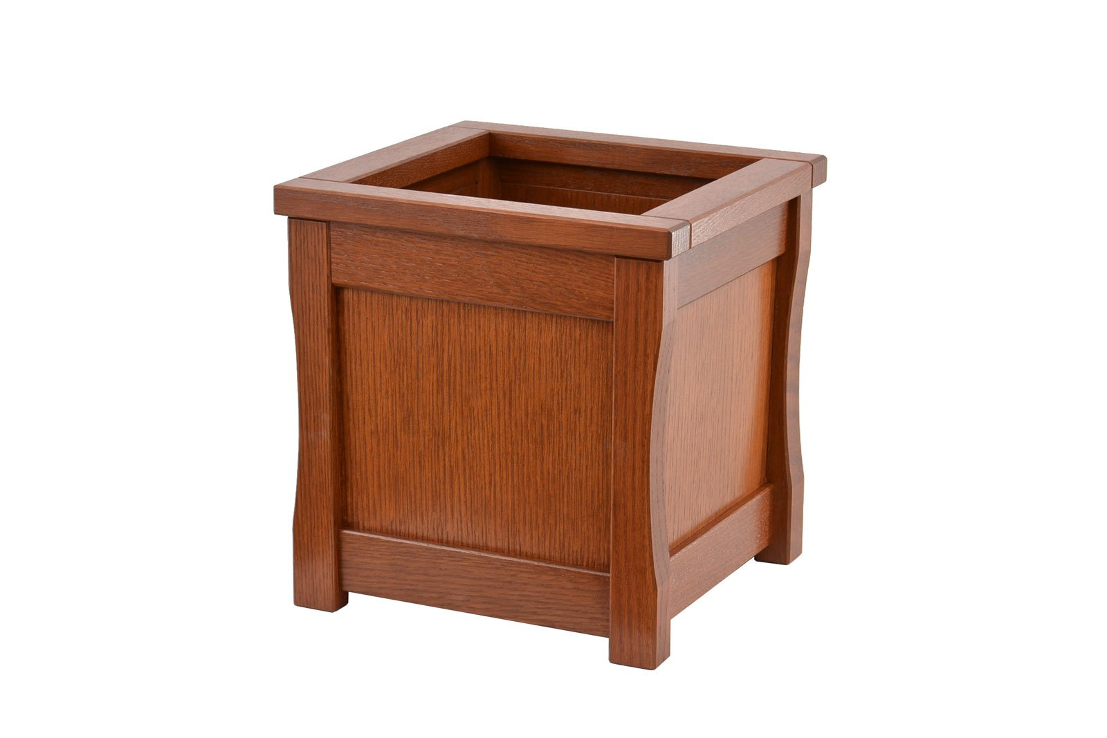 Medium wooden trash can. Mission style. Oak. TE-823