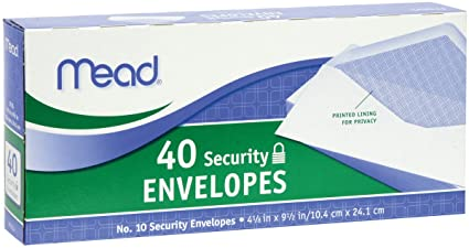 amazon com mead 10 security envelopes 40 count 75214