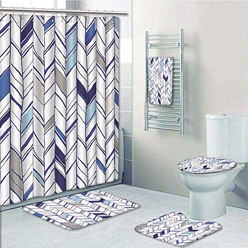 Nalahome 5 Piece Bathroom Set Includes Shower Curtain Liner Tribal Zigzag Lines In