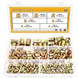Sutemribor 220 Pcs 7 Sizes Zinc Plated Carbon Steel Flat Head Threaded Rivetnut Insert Nutsert Rivet Nut Assortment Kit - M3 M4 M5 M6 M8 M10 M12