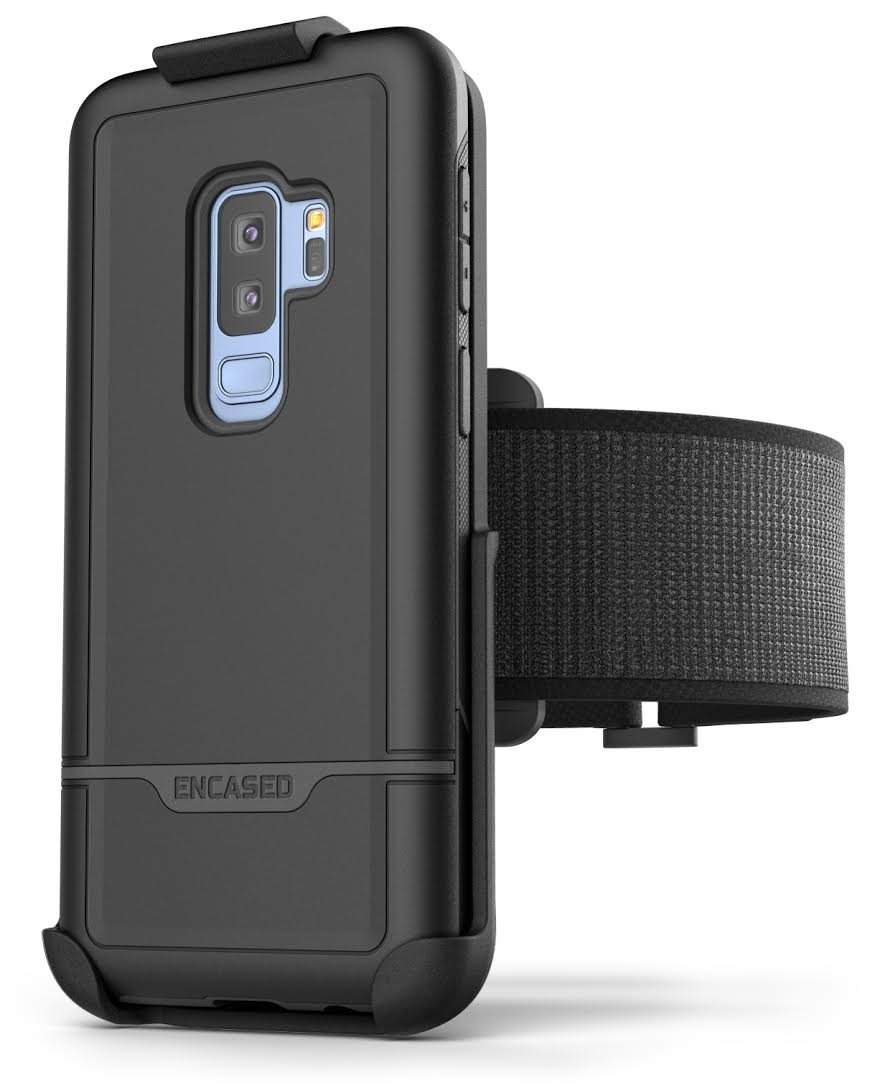 Samsung Galaxy S9 Plus Armband Set - Lightweight (Clip'N'Go) Workout Band w/Rebel Tough Case (Fully Size Adjustable XS-XXL) (Black)