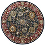 Traditions Kashan Round Rug, 8-Feet by 8-Feet, Navy For Sale