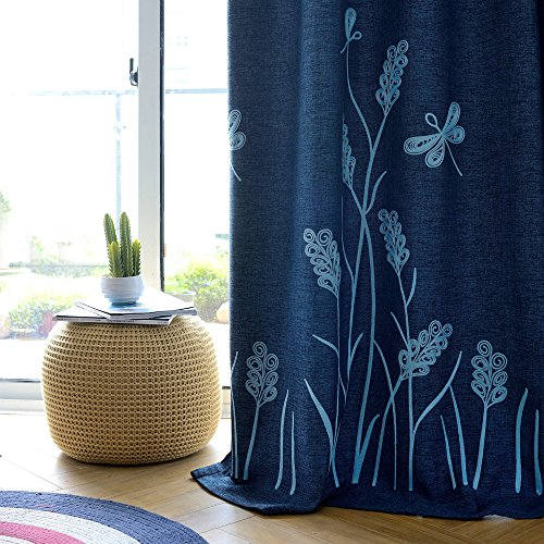 Melodieux Wheat Embroidery Linen Thermal Insulated Blackout Grommet Top Window Curtains for Living Room, Navy/Blue, 52 by 84 Inch (1 Panel)