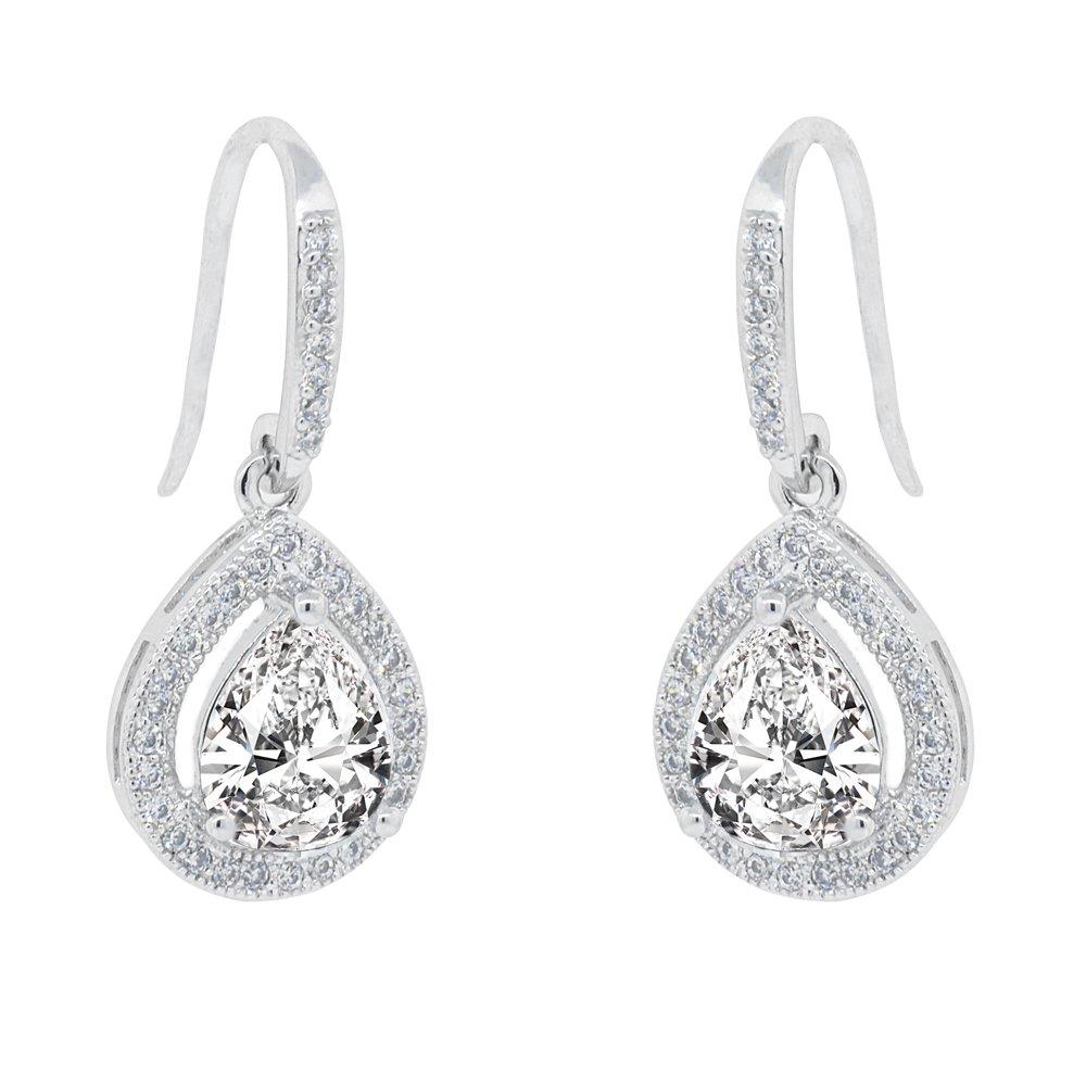 Cate & Chloe Isabel 18k White Gold Teardrop CZ Earrings, Drop Dangle-Earrings, Best Silver Earrings for Women, Girls, Ladies, Halo Drop Earrings with CZ Crystals - msrp 150
