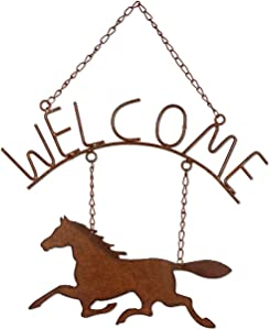 Sunset Vista 90631 16-inch Height Horsing Around Horse Welcome Sign, Brown