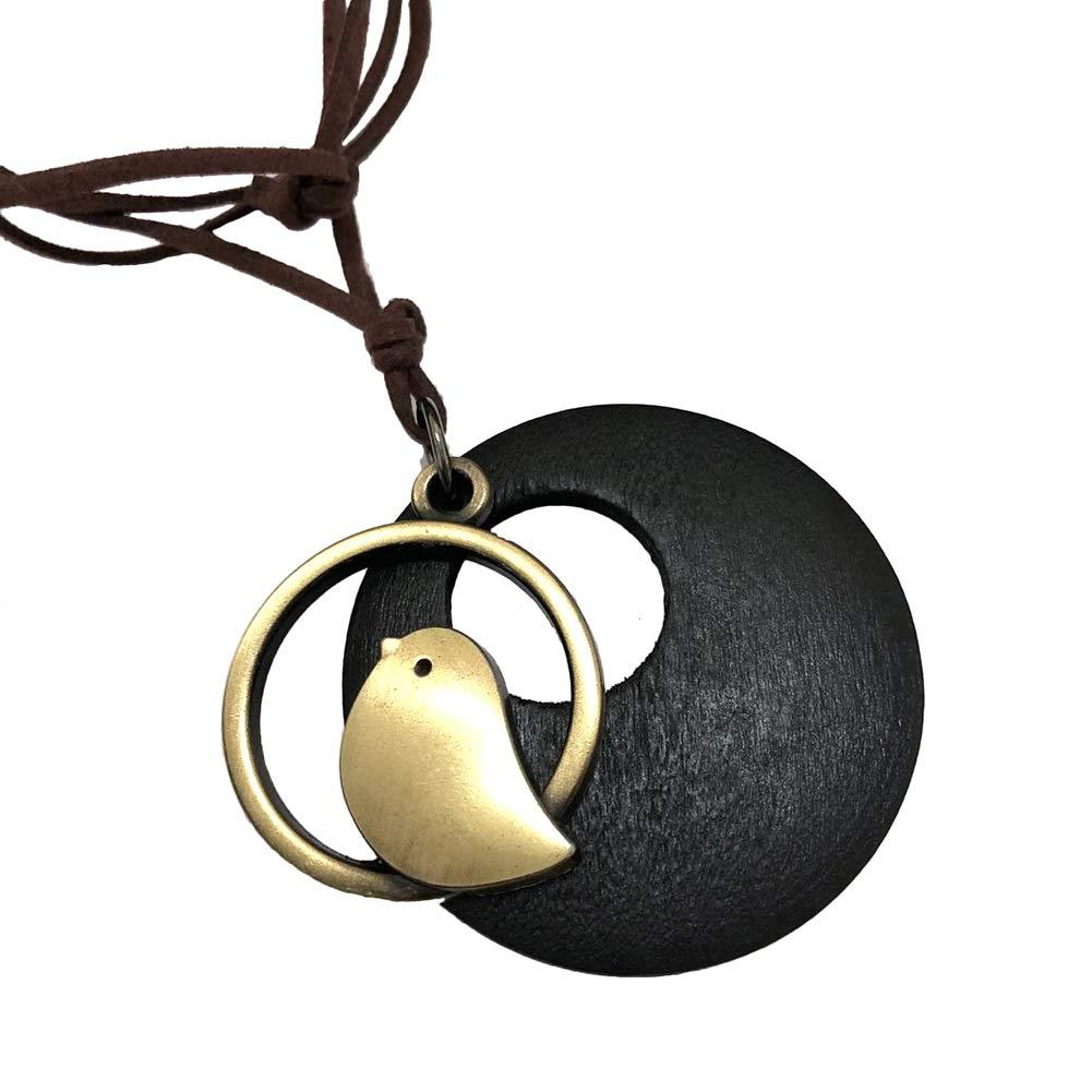 1 P/ájaro de Madera Colgante Largo Collar Cadena su/éter Collar de Cuero Artificial Collar Ajustable para Mujeres Lumanuby