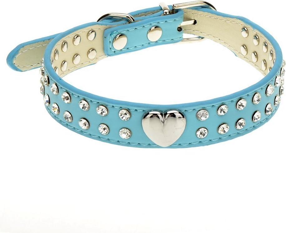 zweireihiger Strasssteinbesatz verschiedene Farben Leder f/ür kleine und mittelgro/ße Rassen Hundehalsband Herz-Design
