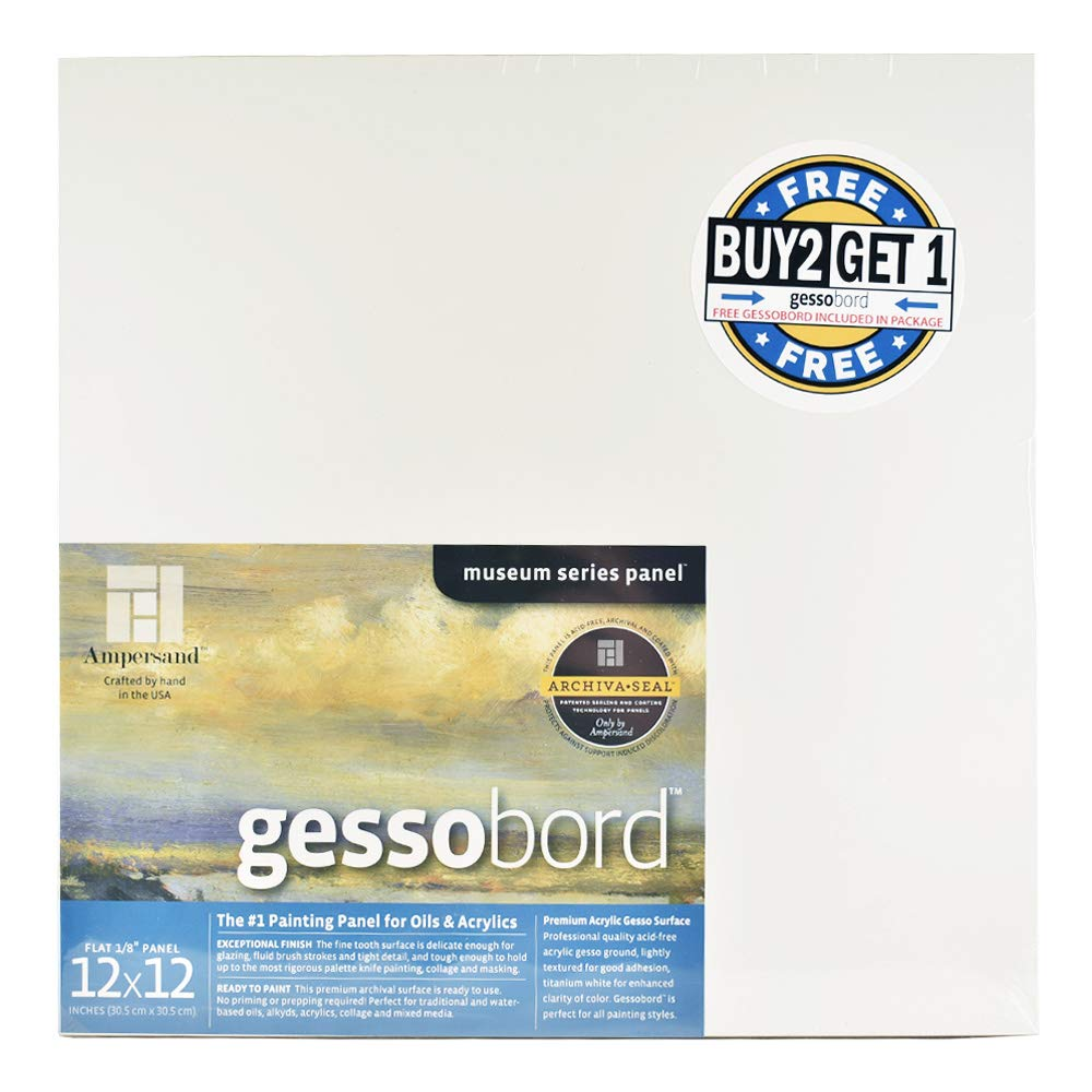 Ampersand Gessobord for Acrylic, Oil and Mixed Media, 1/8 Inch Depth, 12X12 Inch, Buy 2 Get 1 Free Bundle for a Total of 3 Panels (GBS122B2) by Ampersand
