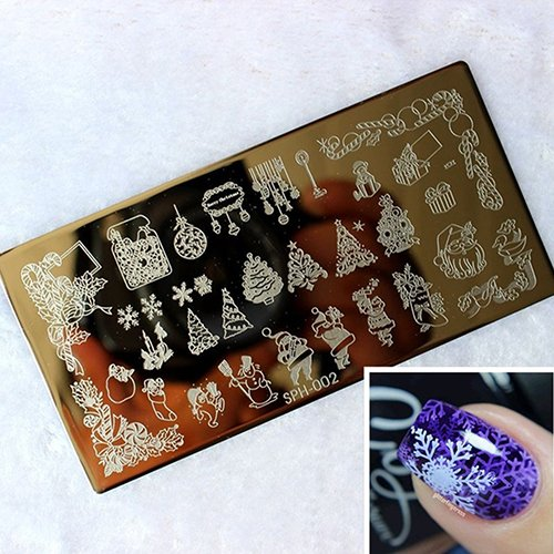JYS365 Christmas Xmas Holiday Image Nail Art Sticker Stamp Stamping Plate Manicure Template Decoration Set Bow