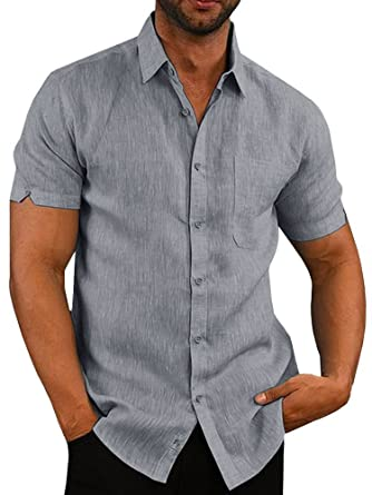 6eaa059feb4 Mens Short Sleeve Shirts Botton Down Tops Beach Linen Fishing Tees Spread  Collar Plain Summer Blouses