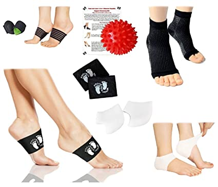 91b477ae54 Plantar Fasciitis Relief & Recovery Kit (9 pcs) - Foot Compression Sleeve, Copper  Arch Compression Brace, Arch Support, Heel Protectors, Foot Massage Ball ...