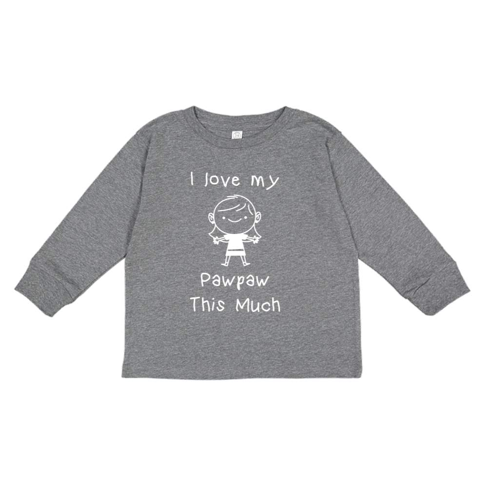 Toddler//Kids Long Sleeve T-Shirt I Love My Pawpaw This Much Little Girl