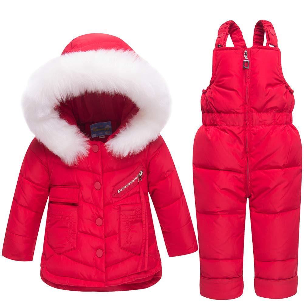 Unisex Baby Toddler Winter Snowsuit Ski Snowpants Bib Down Coat Hooded Puffer Jacket 2 Piece Set Outfit