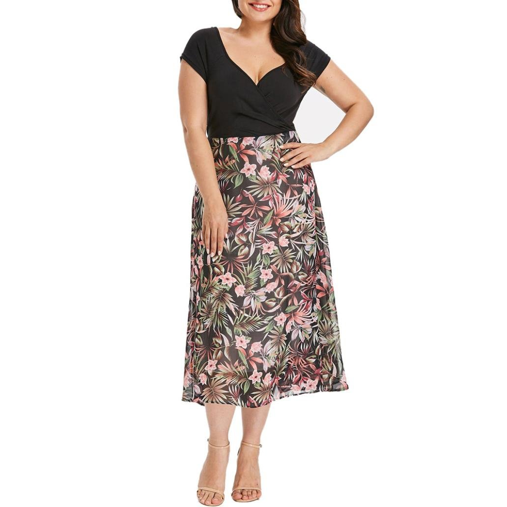 Rambling New Women's Plus Size Short Sleeve V-Neck Wrap Floral Maxi Prom Dress
