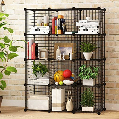 KOUSI Storage Cubes Wire Grid Modular Metal Cubbies Organizer Bookcases and Book Shelves Origami Shelving Unit, Black, 12 Cubes (Modular Shelving System)
