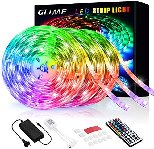 RGB LED Strip Lights 59ft, GLIME 18m Color Changing 5050 Lights for Bedroom with Remote for Home Lighting Kitchen Bedroom Flexible Strip Lights for Bar Home DIY Decoration(3 x 19.7ft)