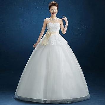 DYY Vestido de Novia Delgado de la Tapa del Tubo Vestido de Novia Delicado Elegante de