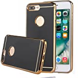 TabPow iPhone 7 Plus Slim Case, Electroplate Glossy Finish, Drop Protection, Shiny Luxury Case For iPhone 7 Plus (5.5 Inch) - Black Gold