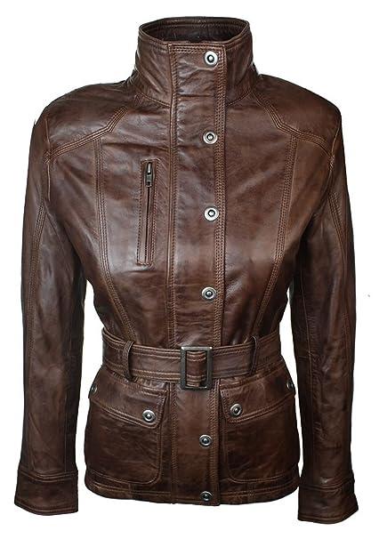 Infinity Chaqueta china militar de cuero para mujer, corte ajustado, color marrón Marrón marrón 14L UK: Amazon.es: Ropa y accesorios