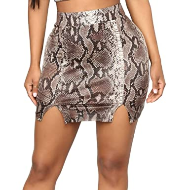 fc7e1bd3e5 Susupeng Women High Waist Snakeskin Pattern Print Split Front Bodycon Wrap  Sexy Mini Pencil Skirts at Amazon Women's Clothing store: