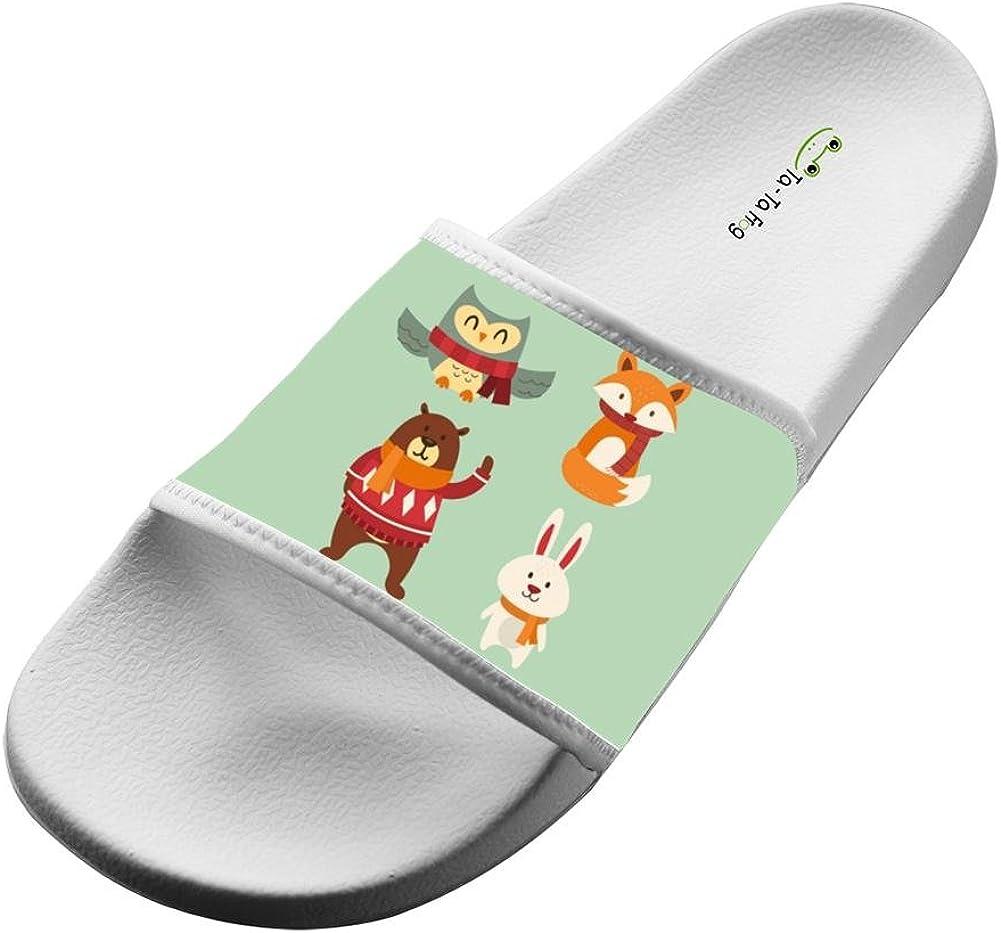 KOUY Summer Unisex Beautiful Forest Animals Home Slippers Bath//Beach Non Slip Slide Sandals