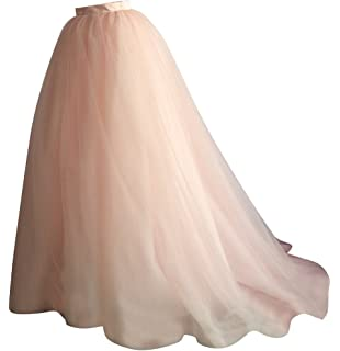flowerry Women Short Train Tutu Tulle Skirt Wedding Train Bridesmaid Maxi Skirt