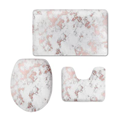Ruiyida Bath Mat,Rose Gold Marble Bathroom Carpet Rug,Non-Slip 3 Piece Bathroom Mat Set
