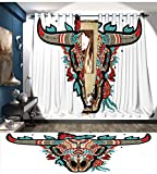 LedfordDecor Western Room Darkening Wide Curtains Buffalo Sugar Mexican Skull Colorful Ornate Design Horned Animal Trophy Customized Curtains Turquoise Red Taupe