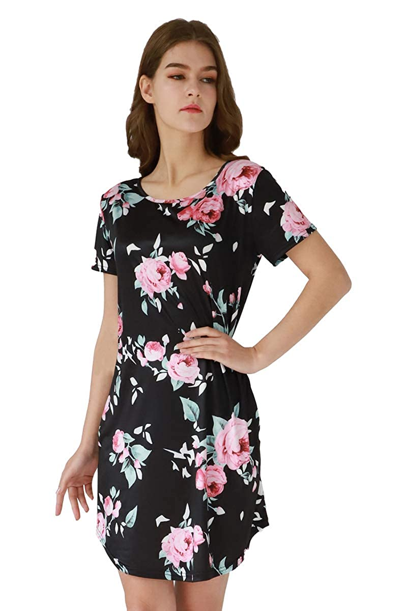 3ed30ef668ae3 YMING Women s Plus Size Floral Print Dress Swing Mini Short Sleeve Summer  Dress with Pockets at Amazon Women s Clothing store