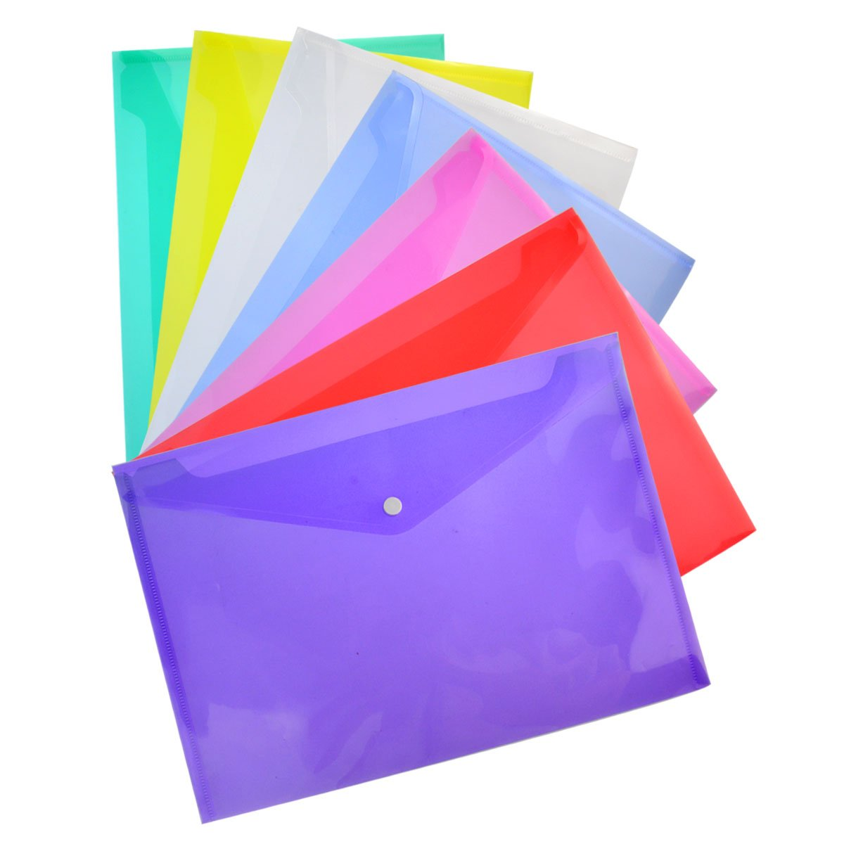 35 Packs Transparent Poly Envelope, Bantoye A4 Document Folder with Snap Button Closure, 7 Assorted Colors