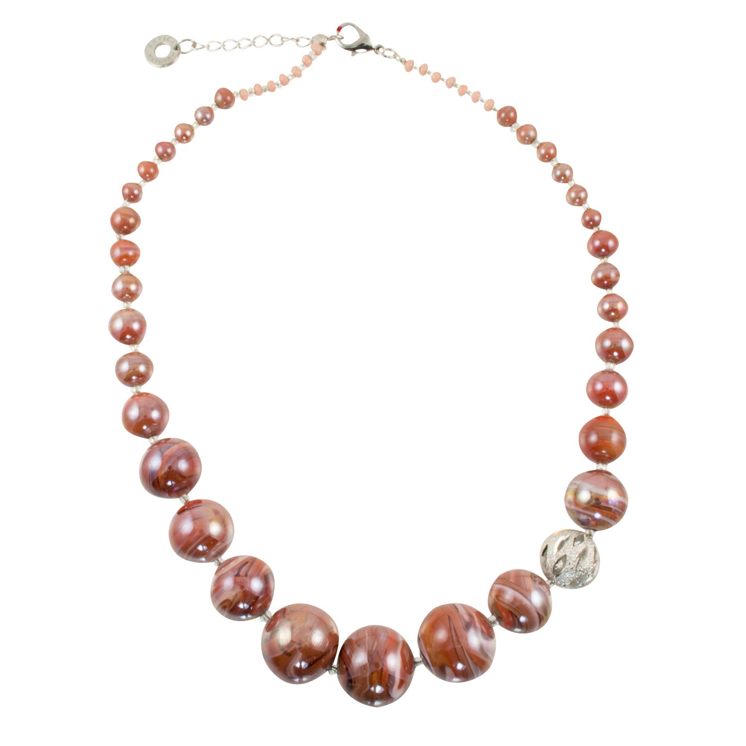 Murano di Susanne ''Optical'' Silver Plated Coral Murano Glass Graduated Bead Necklace, 18+2'' Ext.