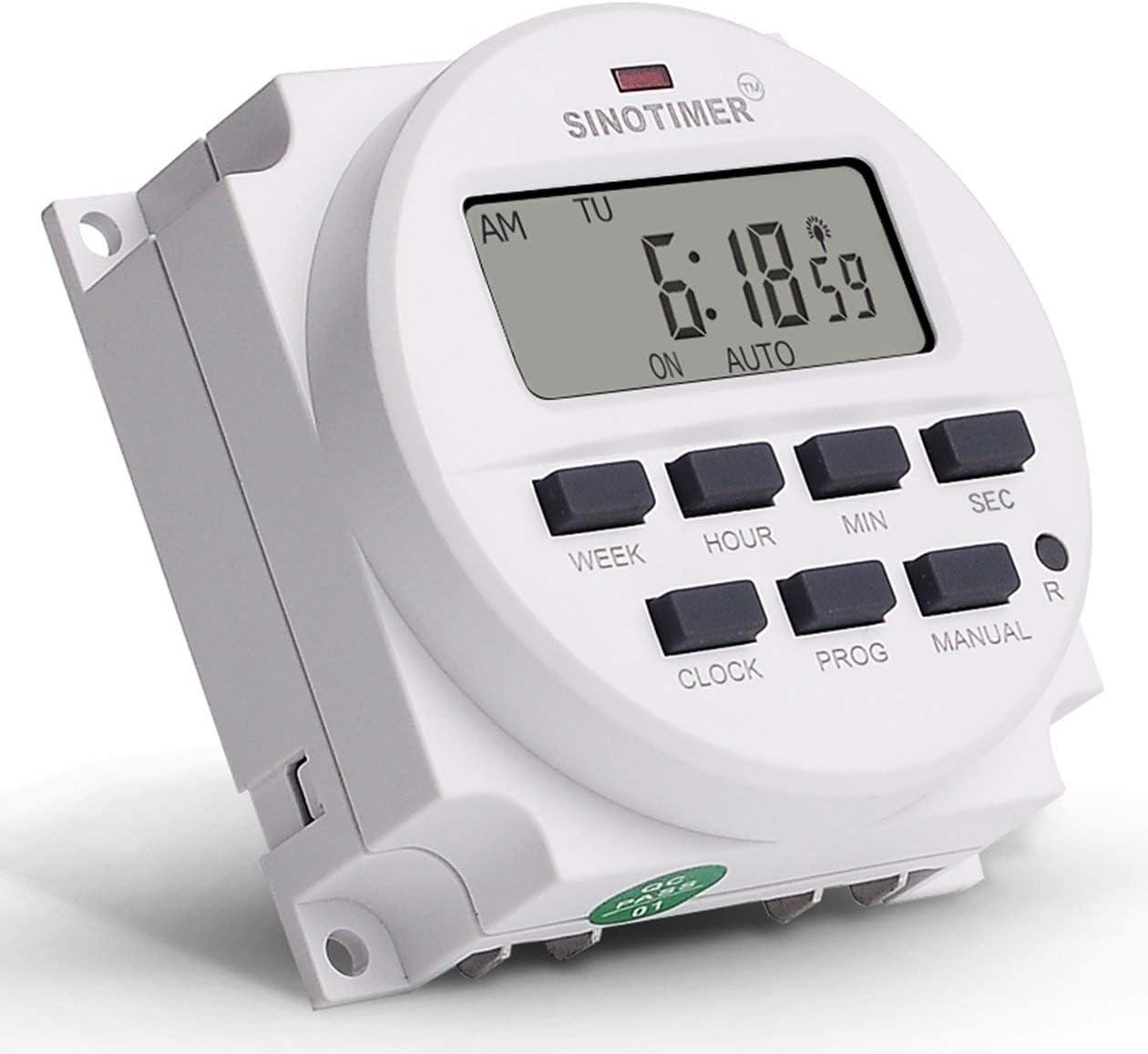 OFF couleur: blanc SINOTIMER 12V Hebdomadaire 7 jours Programmateur num/érique Programmateur de relais pour appareils /électriques 8 R/églage ON