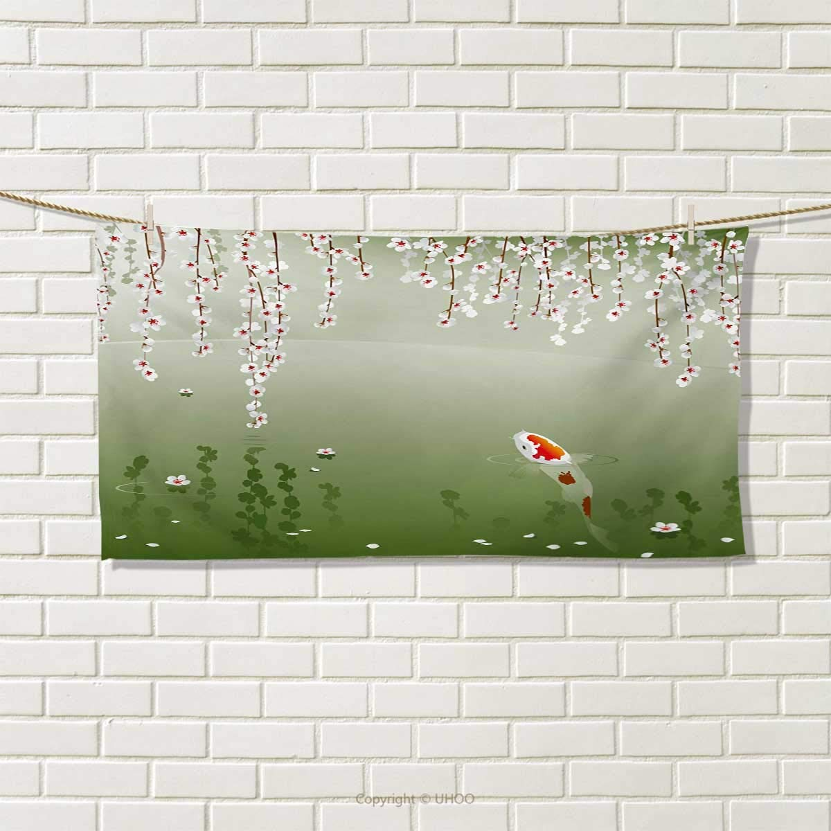 Koi Fish,Hair Towel,Japanese Koi Fish Painting Style Hanging Cherry Flowers Floating Leaves,Quick-Dry Towels,Green Orange White Size: W 8 x L 23.5 Chaneyhouse