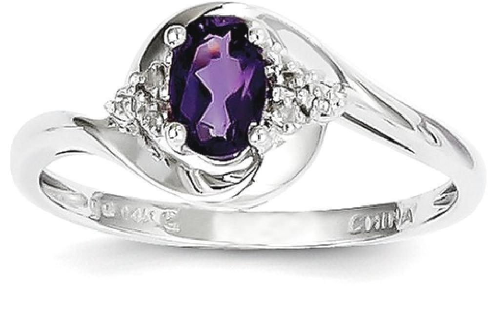 ICE CARATS 14k White Gold Purple Amethyst Diamond Band Ring Size 7.00 Stone Birthstone February Set Style Fine Jewelry Gift Set For Women Heart