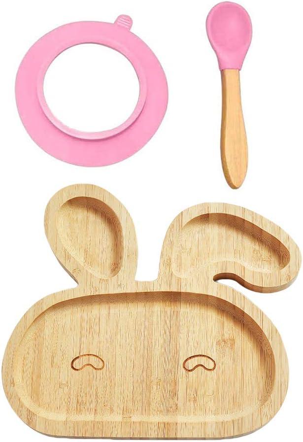 QoFina Placa para beb/é Hecha de bamb/ú Placa de bamb/ú Ventosa para beb/é ~ Placa de alimentaci/ón para beb/és y ni/ños peque/ños con un Anillo de succi/ón Fuerte