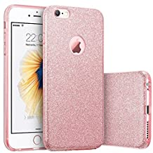 iPhone 6s Plus Case, Imikoko™ Fashion Luxury Protective Hybrid Beauty Crystal Rhinestone Sparkle Glitter Hard Diamond Case Cover For iPhone 6s/6 Plus (Bling Rose Gold) (Rose Gold-3 IN 1)