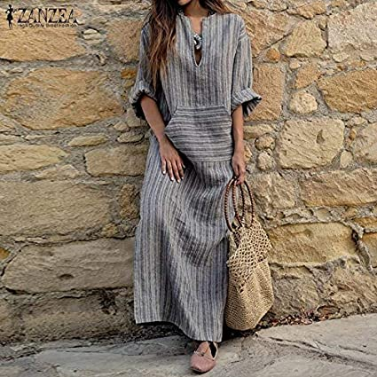 rackerose Zanzea Women Sexy V-Neck Long Sleeve Dresses Vintage Casual Loose Maxi Long Vestidos