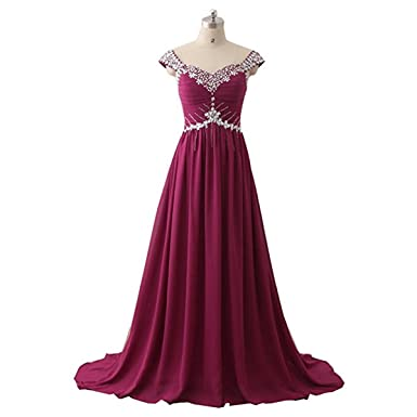 JiaYi Womens Long Prom Dresses 2017 Beaded Chiffon Evening Party Prom Gowns Custom Dress