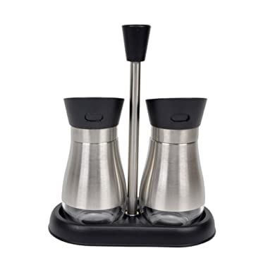 Evelyne 2-Piece Salt & Peppet Shakers Cruet Set Glass Bottle with Stainless Steel Cover Twist Rotating Top with Tray