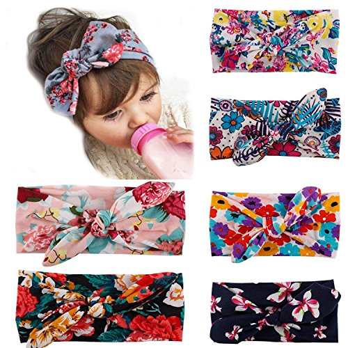 Bow Wrap - My Little Baby Baby Girl Newest Turban Headband Head Wrap Knotted Hair Band 6 pack