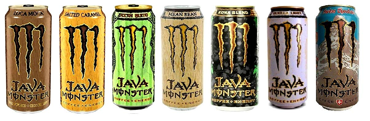 New Monster Java Variety Pack : Loca Moca, Salted Caramel, Mean Bean, Irish, Kona, Light Vanilla, Swiss Chocolate. 15fl.oz (Pack of 14)