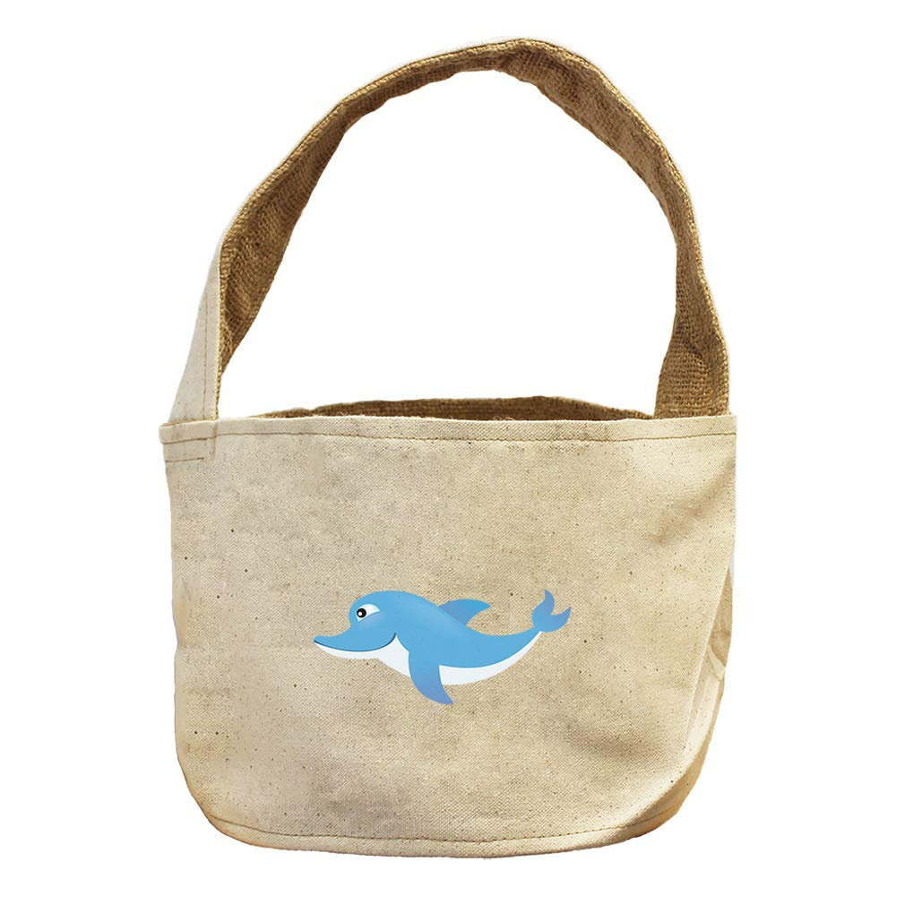 Style in Print Dolphin Happy Animals Canvas and Burlap Storage Basket